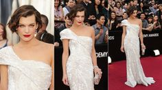 #Oscars #2012 red carpet fashion: #Milla_Jovovich wore #Elie_Saab gown, #Edie_Parker box clutch, #Jacob_&_Co jewels.