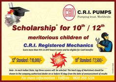 CRI Groups is the best agriculture pumps manufacturer india. CRI Groups is Announcing scholarship for meritorious children of C. Best wishes to all students appearing for board exams