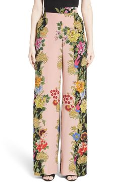 Like the design, not the exact pattern and colors. Inspired by the blossoming motifs of early Mexican paintings, flowering vines trail up the flowy wide-leg silhouette of these silk pants. Kulot Batik, Batik Kebaya, Batik Dress, Fashion Pants, Hijab Fashion, Fashion Dresses, Batik Fashion, Floral Fashion, Silk Pants