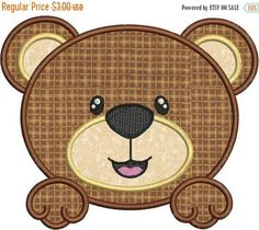 SALE 65% Off Cute Baby Bear Face Applique Machine Embroidery