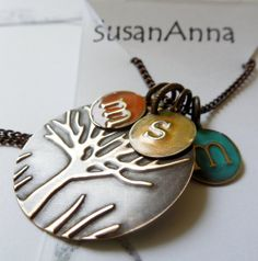 Boho Colorful Necklace Family Tree Necklace Colored by SusanAnna
