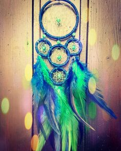 Blue/green natural Dreamcatcher made by Dreamionista