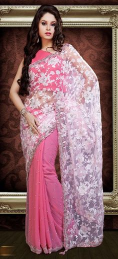 Pink #Designer Saree #Online   Check out this page now :-http://www.ethnicwholesaler.com/sarees-saris