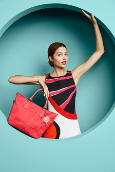 Go fulll circle with this chic dress and red bag combo! Find it in Desigual's Spring Summer 16 collection.