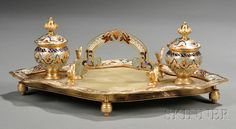 18th century inkwells | ink well in neo rococo style faience inkstand 18th c