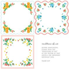 Free hankie printables...print on freezer paper and iron onto fabric scraps...