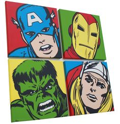 "AVENGERS  Acrylic on Canvas  Four 12"" X 12"" Paintings  This commission was for a kid's room. Sweet!"