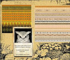More Halloween Digital papers, washi tape, images preview
