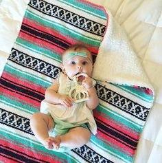 Del Mex Baja Baby blanket is made of super soft sherpa material on one side and Mexican blanket on the other.