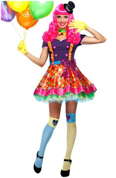 Bubble Gum Girl/Party Clown Women's Costume