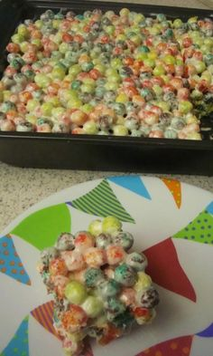 I saw a picture online a while ago of Trix Crispies Treats and thought I'd give it a try. I loved how garishly colored Trix are, and thought they'd look great on a Halloween table, especially if you're having a circus theme. The recipe on the marshmallow bag was OK, but I thought I'd kick it up a bit, and tweaked it to my liking. The addition of a wee bit of salt really brightens up the flavor, and vanilla adds wonderful depth of flavor as well. If you try it, let me know wh