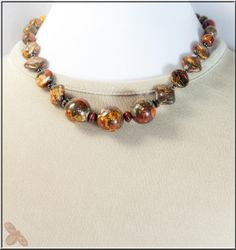 Red Creek Jasper and Pyrite necklace