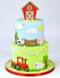 Cute Farm Yard Cake Tutorial brought to you by FMM Sugarcraft. The latest cutter. Cute Farm Yard C Farm Birthday Cakes, Animal Birthday Cakes, Farm Animal Birthday, Farm Yard Birthday Party, 2nd Birthday Cake Boy, Farm Party, Birthday Cupcakes, Birthday Ideas, Farm Animal Cakes
