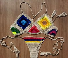 Brazilian crochet Bikini Top cropped by Shebelamoda on Etsy