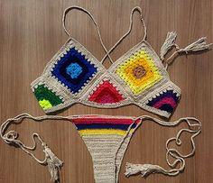 Brazilian crochet Bikini Top cropped by Shebelamoda on Etsy