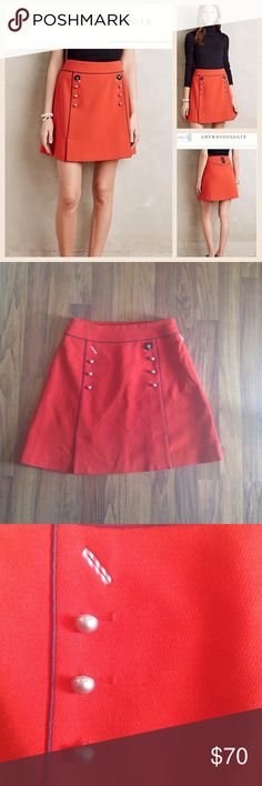 NWOT Anthro Regatta Skirt NWOT (missing button- purchased this way.) Leifsdottier (anthropologie) regatta skirt. Color is dark orange. This is the perfect skirt for fall and back to school! Front has 6 silver buttons and only black marble button. The missing button could be replaced easily or you could remove the marble button. Looks cute either way! Label marked through to prevent store return. Waist flat: 13.5 inches. Length: 18 inches. Anthropologie Skirts Mini