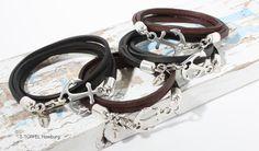 Leder Wickelarmbänder - Anker Armband ⚓ Küstenkind ⚓ Leder - ein Designerstück von I-Tuepfel-Schmuck bei DaWanda