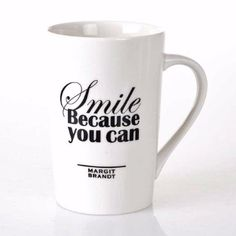 Bahne Smile Because You Can Mug : Smile because you can mug. Add some positivity to your morning cup of coffee with this stylish monochrome mug from interior designer Margit Brandt for Bahne.