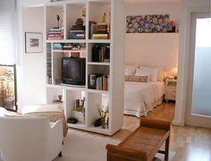 Studio apartment with room divider Studio Apartment Layout, Studio Apartment Decorating, Apartment Interior, Studio Apartment Living, Small Space Living, Small Rooms, Small Spaces, Deco Studio, Studio Apt