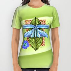 Dragonfly to Your Dreams All Over Print Shirt by VikkiSalmela, new, watercolor pen and ink dragonfly sitting on a leaf, waiting to take off to her dreams! Available on trendy   apparel   fashion tops   office   travel   social events. Original and comfortable, start the New Year flying to your #dreams!