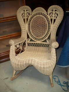 antique natural wicker victorian rocker most likely heywood wakefield