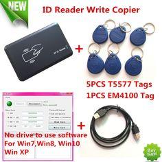 125KHZ RFID ID Card Reader Writer Copier Duplicater For Access Control+5 PCS EM4305/T5557 Tags+ DEMO Nodriver Software #Affiliate