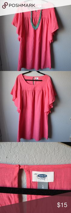 Hot Pink Dress This hot pink dress is perfect for any spring/summer event you have planned! May need a slip underneath!  ITEMS SOLD SEPARATELY - Teal Necklace is for sale in my closet Old Navy Dresses Mini
