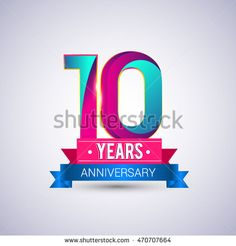 10 years anniversary logo, blue and red colored vector design