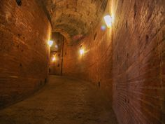 Ancient corridor in Castel Sant'Angelo, Rome connecting with the Vatican City.  Used also in 1527 when hundres of people including Pope Clement VII took refuge in the fortress for months during the Sack of Rome by the Holy Roman Emperor Charles V