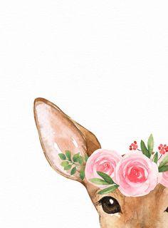 Woodland animal print – Deer wall art – Blush pink floral crown – Forest wall art – Printable wall a Woodland Animal Print – Hirsch Wandkunst – erröten rosa Blumenkrone – Wald Wandkunst – druckbare Wand a Baby Girl Nursery Decor, Woodland Nursery Decor, Nursery Wall Art, Forest Nursery, Hirsch Illustration, Pink Floral Crowns, Pink Flowers, Deer Wall Art, Nursery Wallpaper