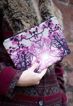 Berry Forest Print Clutch Bag - by Rachel Edmond - available on ASOS Marketplace, Etsy & www.racheledmond.com