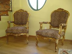 French Chairs in Leopard Fab