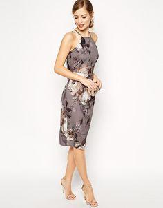 ASOS | ASOS Grey Floral Drape Back Midi Dress at ASOS