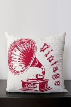 Phonograph Pillow - Carmine/Feather Gray/White by Throw Pillow Blowout on @HauteLook