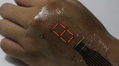 Incredible wearable LED display looks like a digital tattoo from the future Wearable Device, Wearable Technology, New Technology, Spring Technology, Electronic Tattoo, Phone Shop, Cool Tech, Fitness Tracker, Tattoos