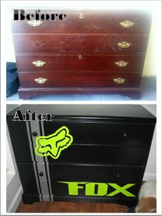 Dresser I found and reconstructed for Russel Jr's dirtbike/fox racing themed bedroom.