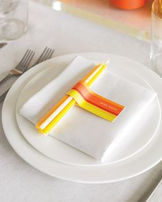 """Wedding Favor Tag  Appease wedding guests with bundles of striped, bright toned taper candles as favors. Six-inch """"Celebration"""" candles"""