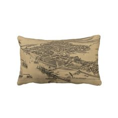 Vintage Pictorial Map of Cedar Key FL (1884) Pillows from Zazzle.com $52.00