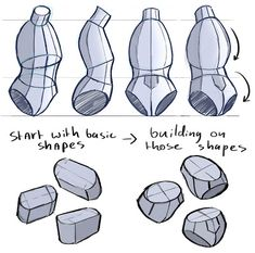 How to draw the torso, I always try to use these steps I learned from a while ago. These break downs make life so much easier… Hand Drawing Reference, Body Reference, Anatomy Reference, Art Reference Poses, Human Anatomy Drawing, Human Figure Drawing, Body Anatomy, Anatomy Art, Drawing Poses