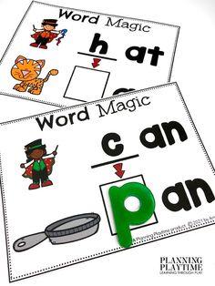 Practice making CVC & Rhyming Words: Early Reading & Litteracy Skills -Fall Kindergarten Morning Tubs
