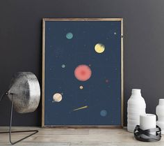 $5.29 Space Poster Solar System Print PDF Space Print Galaxy