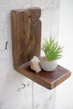 Recycled Wood Wall Shelf: Small. Small space organization for bedrooms, living areas, kitchens. Rustic yet modern style. Perfect for adding succulents or other home decor!