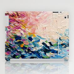 """""""Paradise Dreaming"""" by Ebi Emporium on Society 6, Colorful Whimsical Fine Art Textural Abstract Acrylic Painting Modern Brushstrokes Pink Blue Nature Landscape Artwork iPad and iPad Mini Office Tech Device Case Cover Contemporary Girly Gift for Her #abstract #art #fineart #pastel #colorful #textural #tech #device #techie #techdevice #iPad #iPadMini #case #cover #hardcase"""