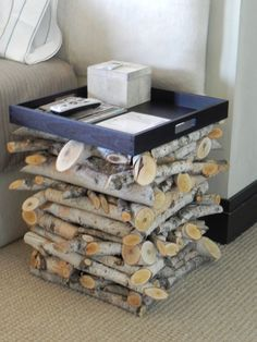 Birch wood bedside tables.  love the idea but think it'd be better for patio