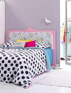 colourful bedroom + diy headboard