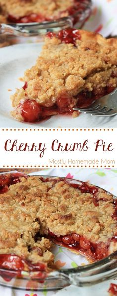 Cherry Crumb Pie - so easy! Cherry pie filling with almond extract topped with a homemade crumb topping and baked until bubbling - perfect for fall!