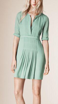 Бледный зеленовато-синий Шелковое платье с плиссировкой - Изображение 1