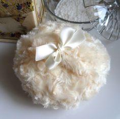 BODY POWDER PUFF warm ivory soft custard cream by BonnyBubbles, $13.95
