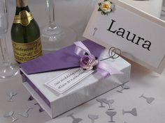 Lilac Rectangle Wedding Favour Box with lilac tea rose