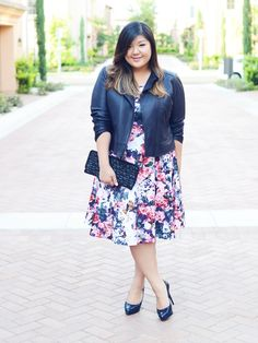 A muted floral & a leather jacket | Curvy Girl Chic